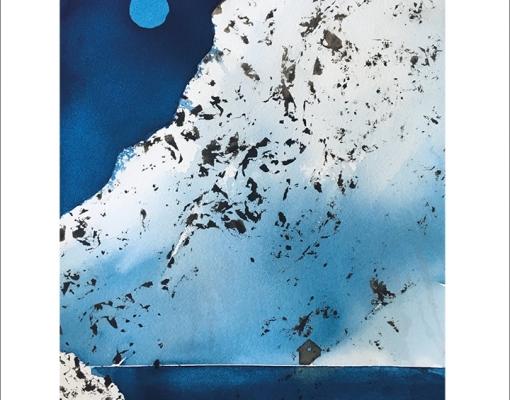 Kunstkort A6 Full Moon / Snowy Mountain