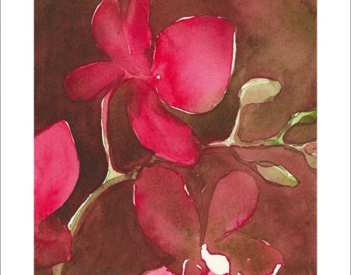 Kunstkort kvadratisk Orkidé Phalanopsis III
